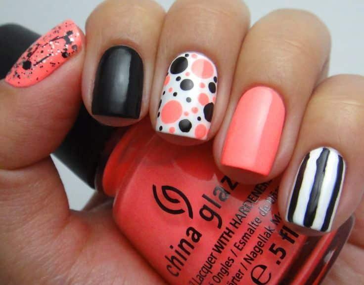 imagenes de uñas decoradas con puntos y rayas