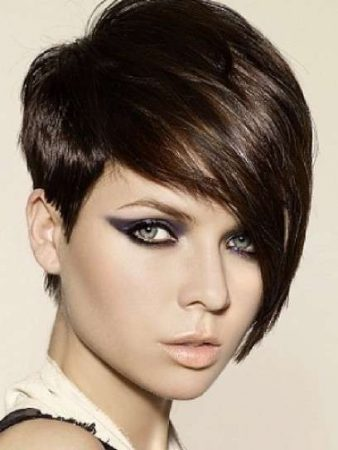 Asymmetric and long bangs for short pixie hair