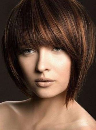 Short Bob Cut Hair with Bangs
