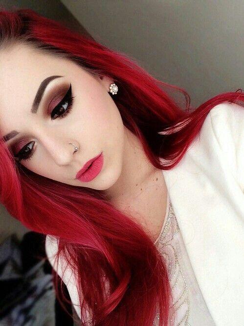 maquillaje cabello rojo