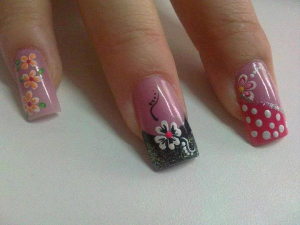 Nail designs with dots and flowers