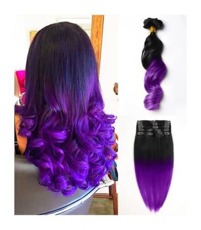 extensiones con clip de pelo 100 natural mechas californianas color negro y morado