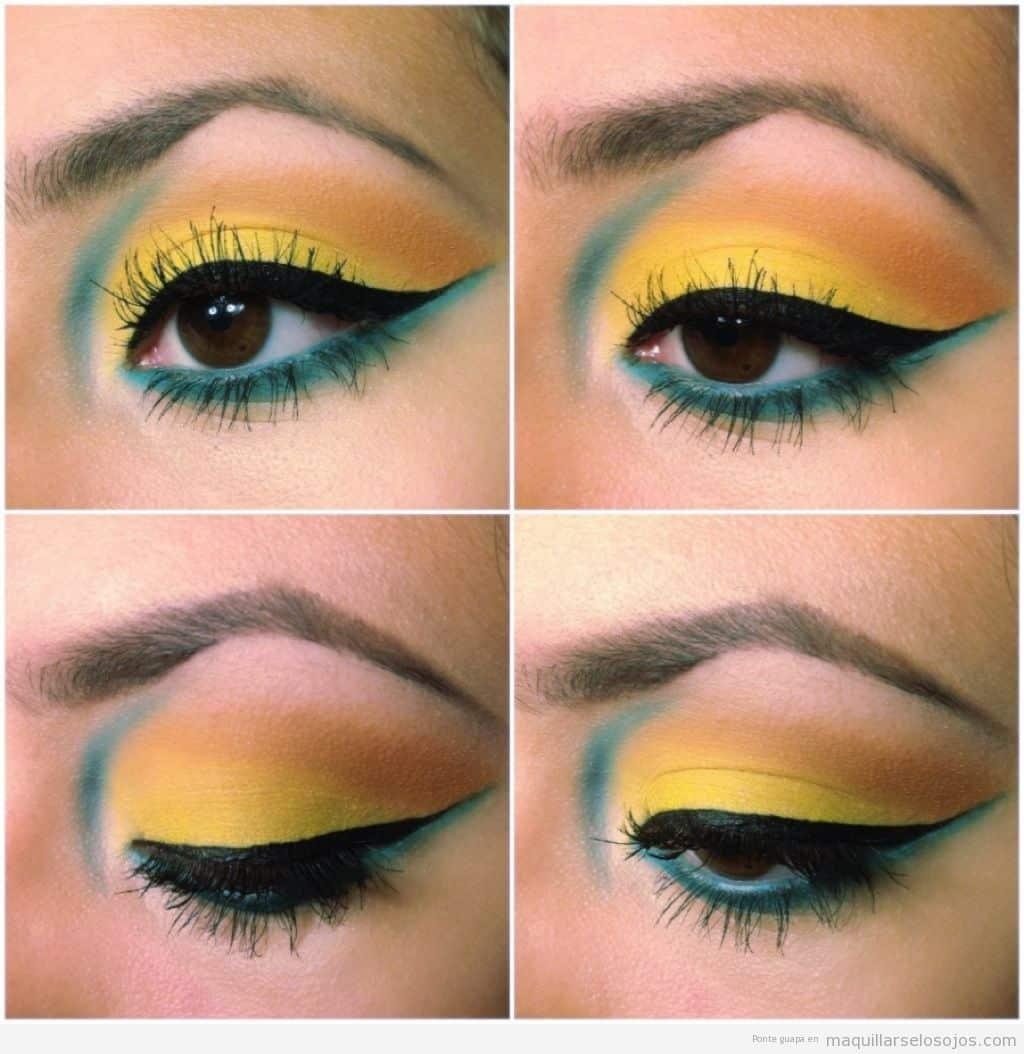 Maquillaje paso a paso como combinar maquillaje de ojo y el color -  Maquillaje Ojos Rasgados Amarillo Y Azul