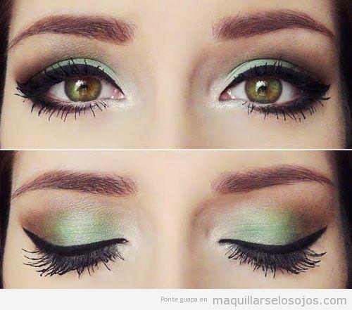 maquillaje,ojos,verde,eyeline,negro