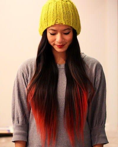 mechas californianas rojas cabellos largos