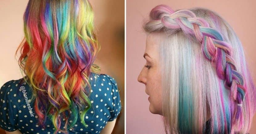 mechas de colores arcoiris fantasia trenza