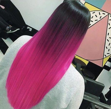 mechas de colores arcoiris rosa neón fluo