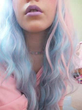 mechas de colores celeste azul rosa