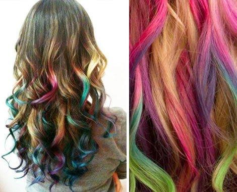 mechas de colores puntas arco iris