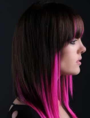 mechas de colores rosa pelo corto