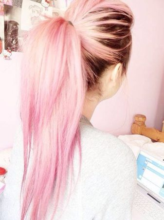 mechas de colores rubia rosa