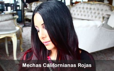 mechas rojas californianas en pelo oscuro rayitos