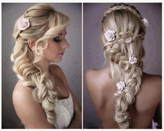 Peinado para mechones largo en boda de fiesta bonitos con flores y trenzas paso a paso a capas con cierto bucles en los extremos inferiores.