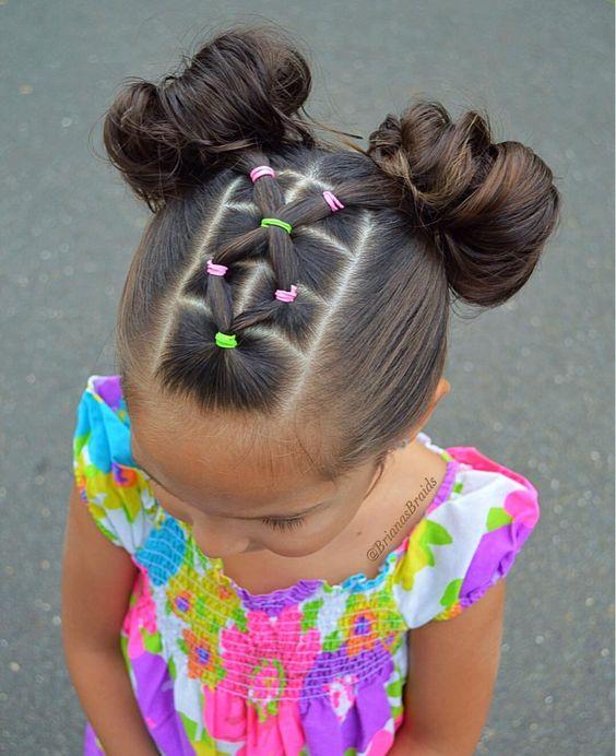 peinados para niñas con ligas y trenzas