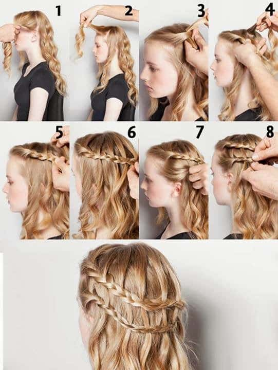 hairstyles with waves two braids