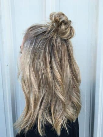 hairstyles with waves half up bun