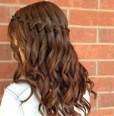 hairstyles with waves braids waterfall