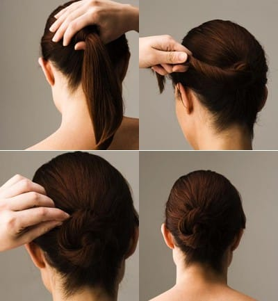 Peinado fácil y sencillo para cabello mediano con rodete elegante