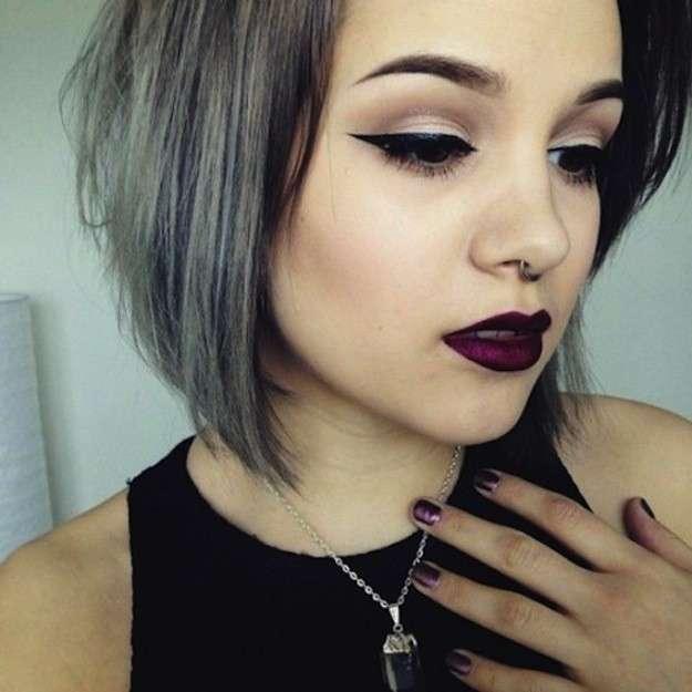 Look pelo corto gris