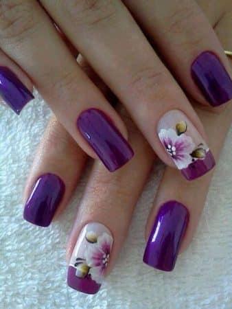 Purple and purple pretty flower nail design