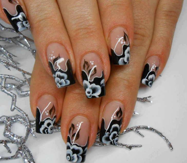 Diseños de uñas decoradas con flores blancas y negras elegantes que son  tendencia en este 2017