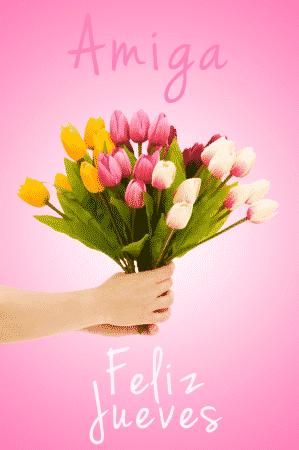 amiga feliz jueves flores tulipanes
