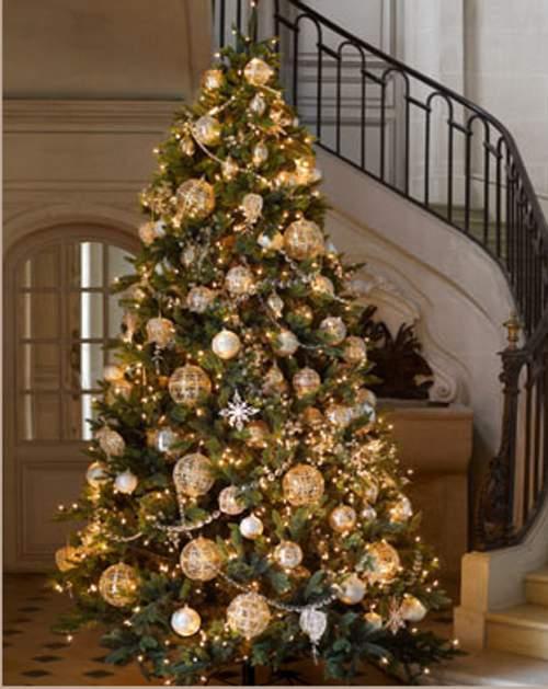 arbol navideo con adornos dorados acompaados de bolas de diferentes tamaos y decorados con brillos para destacar en la luz