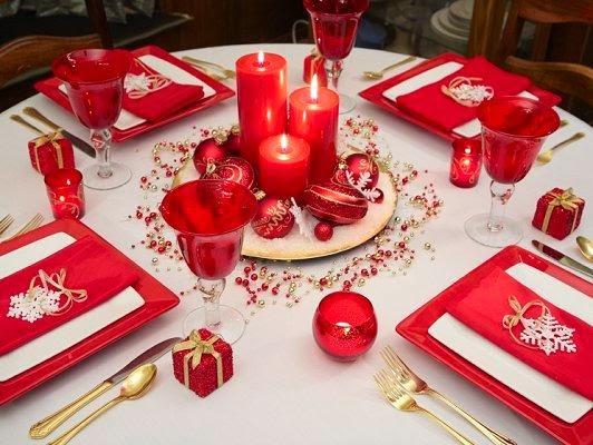 Mesas de Navidad Decoradas de Rojo 45