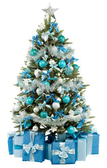 adornos con los colores del cielo de celeste y blanco simulando la nieve con la estrella en el centro superior del arbol navideo