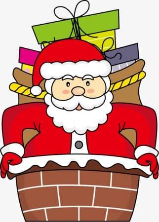 dibujos de navidad con color papa noel chimenea