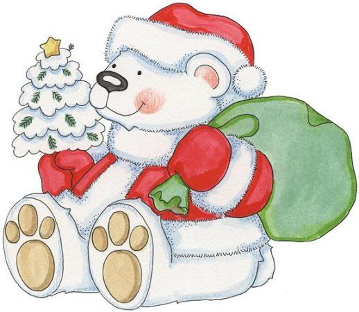 dibujos de navidad con color santa claus oso polar