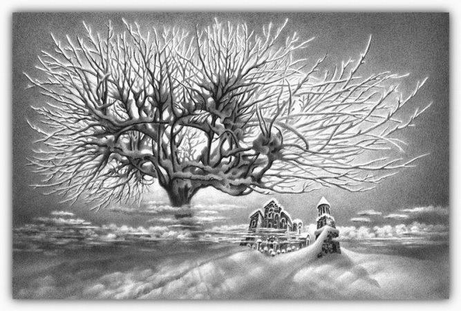 dibujos hechos lapiz nieve navidad 29