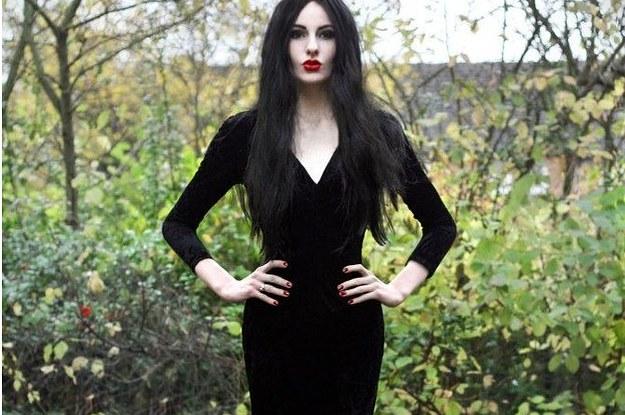 disfraz morticia addams halloween