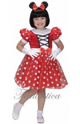 el vestido rojo con lunares rojos ya es muy de minnie mouse con sus orejas y el gran moo rojo que a toda nia le gusta ponerse