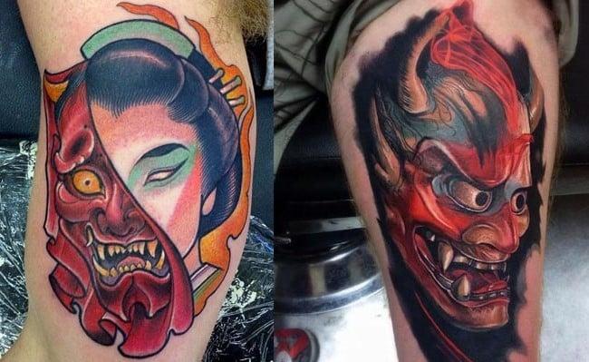 fotos tatuajes de mascara hannya japonesa