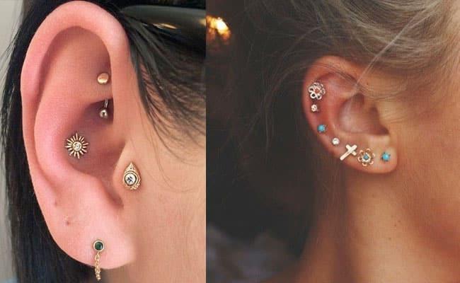 025b555c9111 Imagen con muchos pendientes temáticos donde los piercings son  protagonistas en todo el oído