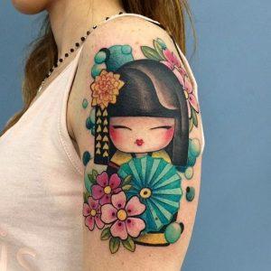 tatuajes de geishas brazo