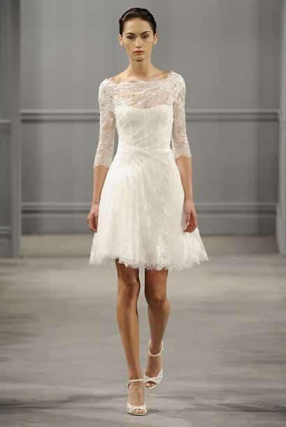 Vestido de novia con encaje corto sobre las rodillas se puede adaptar para  gorditas como flacas de siluetas 8254ba282ea0