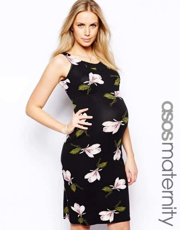 d1bbff1eb Vestido negro para embarazadas estampado con flores para fiesta muy bonito  para utilizar en primavera verano